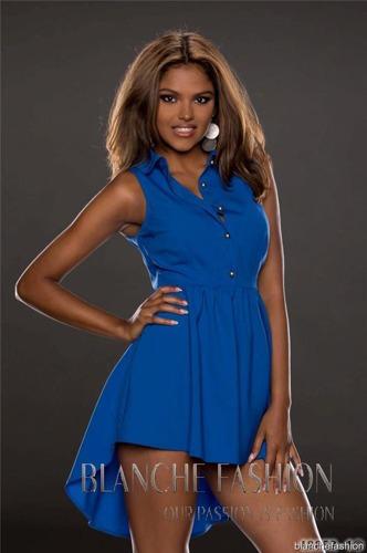 Sexy Chiffon  Asymmetrical Dress Tunic Size: 10 Blue