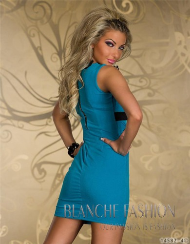 Sexy Mini Dress for Party Club Stretchy 8/10 Turquoise