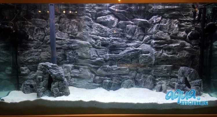3D Grey Rock Background 239x56cm in 4 section to fit 8 foot by 2 foot tanks