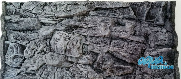 3D grey rock background 88x56cm in 2 sections to fit 3 foot by 2 foot tanks