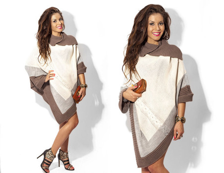 Beige Asymmetrical Knitted Poncho - One size