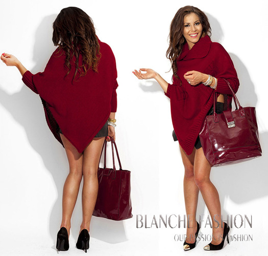 Bordeaux Asymmetrical Knitted Poncho - One size