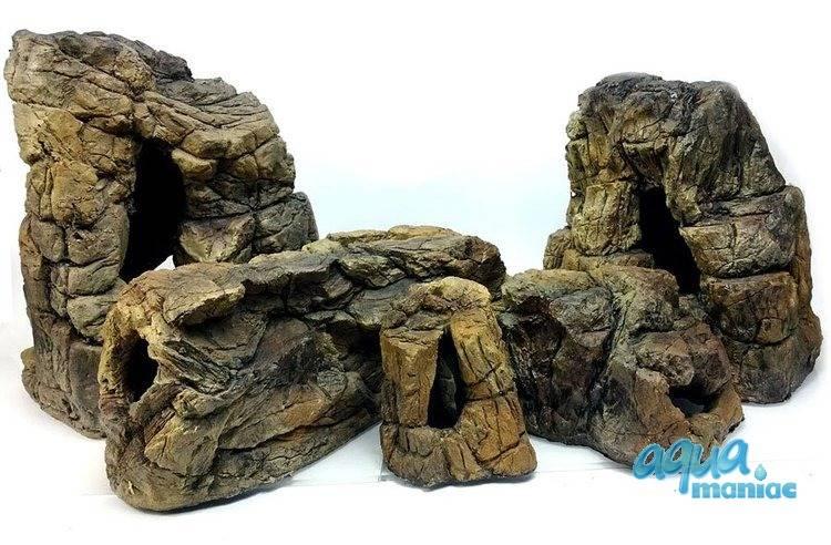 Bundle of 5 beige aquarium rocks - full set SAVE £19