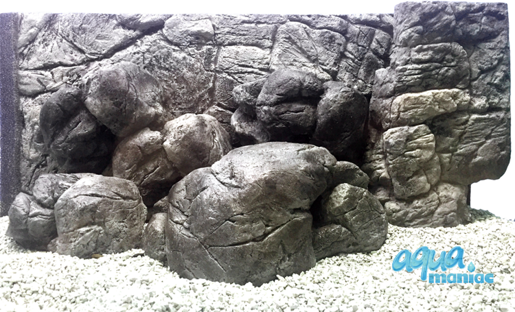 Fluval Roma 200 thin grey rock background 97x45cm 2 sections