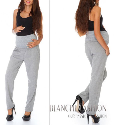 Pregnancy Maternity Stretchy Jersey Pants for Pregnant Mums Grey