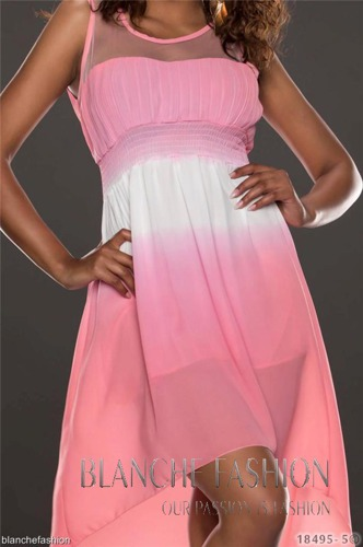 Sexy Chiffon Summer Asymmetrical Holiday Dress Size: 8 Dark Pink
