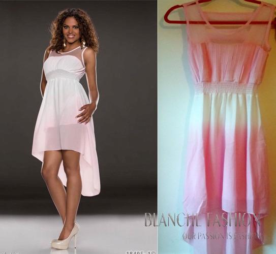 Sexy Chiffon Summer Asymmetrical Holiday Dress Size: 8 Light Pink