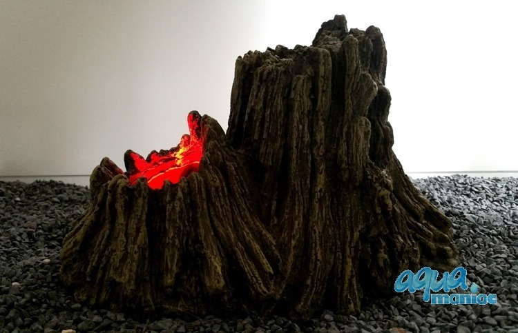Tree Stump Volcano with illuminated red bubbles