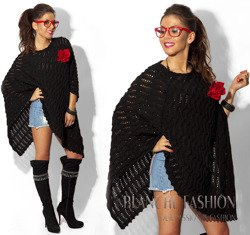 Black Openwork Poncho One Size 8-14