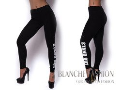 """Leggings with print on leg """"Stand out"""" Sporty Girl Black"""